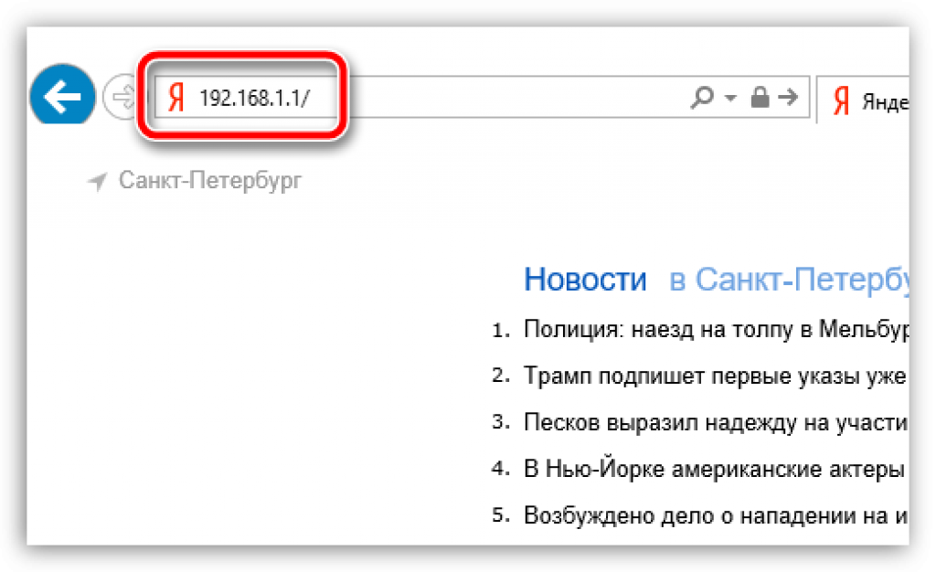 Адресная строка браузера с введенными данными